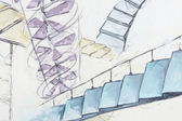 Abstraction with many diffirent staircases — Stock Photo