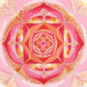 Abstracto rojo cuadro pintado con patrón de círculo, mandala de mul — Foto de Stock