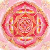 Mul の曼荼羅、円パターンで抽象的な赤塗られた画像 — ストック写真