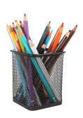 Multicolored pencils in metal cup isolated — Stock Photo