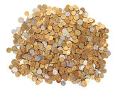 Many silver and golden coins isolated — Stock Photo