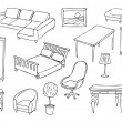 Stock Vector: Different furniture vector set