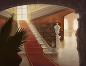 Interior of luxury hall with staircase illustration — Stock Photo