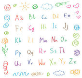 Cartoon stil alphabet kinder vektor zeichnung — Stockvektor