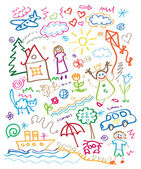 Multicolored child drawing style vector set — Stock Vector