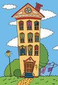 Wohnung, aufbauend auf der sommer-rasen-vektor — Stockvektor