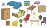 Furniture and decoration color vector set — Stock Vector