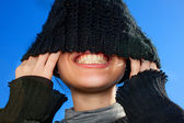 Model with Wool hat force — Stock Photo