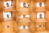Young Attractive Male Model Looking Into A Box (Collage) — Stock Photo
