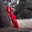 Sensual Fashion Model in Red Dress — Stock Photo