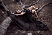 Sensual Young Women in Dark Night Dress — Stock Photo