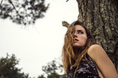 Girl with Intense look in Forest — Stock Photo