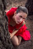 Sensual Women in Red Dress — Stock Photo