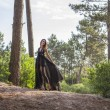 Young Women in Black Night Dress alone in Forest - Stock Photo