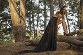 Sensual Fashion Model in Long Black Dress — Stock Photo