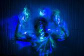 Kreativa light målning med topless modell — Stockfoto