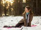 Pretty girl walking in the woods — Stock Photo