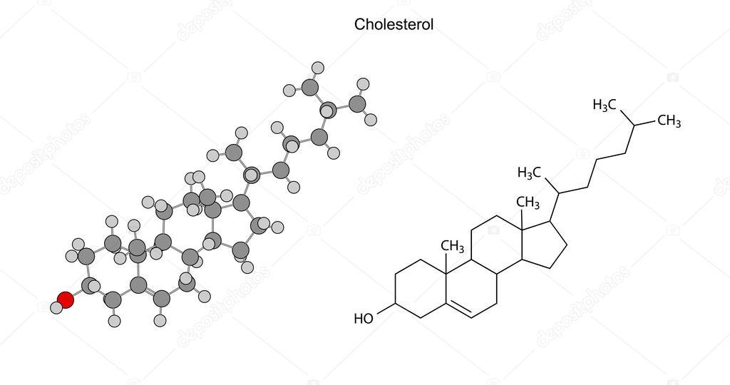 结构化学公式的胆固醇分子, 2d 图, 孤立在白色的背景, 圆圈和棍棒