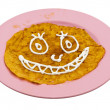 Homemade fried pumpkin pancake for halloween — Stock Photo
