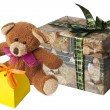 Royalty-Free Stock Photo: Teddy bear with a cardboard gift box