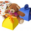 Teddy bear with a cardboard gift box — Stock Photo