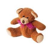 Teddybeer met rode strik — Stockfoto