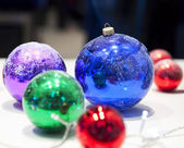 Fur-tree spheres holiday background — Stock Photo