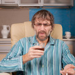 Drunk man with glass and cigarette — Stock Photo #18627259