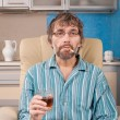Drunk man with glass and cigarette — Stock Photo #18627341
