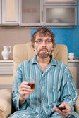 Drunk man with glass and cigarette — Stock Photo