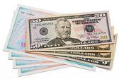 Pila de dólares billetes estados unidos de américa y acciones — Foto de Stock
