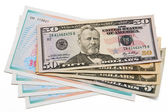 Stack of dollar bills united states and shares — Stock Photo
