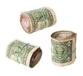 Dirty rolls of United States dollars set — Stock Photo