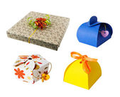 Set of gift paper boxes isolated white — Stock Photo