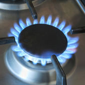Turned-on gas burner — Stock Photo