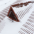 Stock Photo: Snow on metal tiles roofing