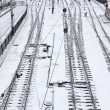 Background of railway lines in winter — Foto Stock