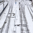 Background of railway lines in winter — Stok fotoğraf