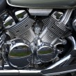 Stock Photo: Shiny chrome plated motorcycle engine