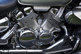 Shiny chrome plated motorcycle engine — Stock Photo