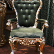 Antique chair upholstered in velvet — Stock Photo