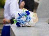 Blue and white wedding bouquet — Stock Photo
