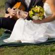 Bride and groom with the guitar — Stock Photo #44432079