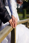 Groom and the bride cost on the wooden bridge — Stock Photo