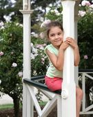 Pretty girl in gazebo — Stock Photo