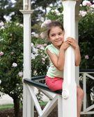 Pretty girl in gazebo — Stock Photo