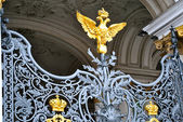 Gate with two heads eagle, the symbol of Russia — Stock Photo