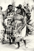 Fat woman from Togo dances — Stock Photo