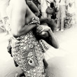 Half naked women from Togo dance together — Stock Photo