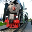 Monument to the locomotive in Orsha city, Belorussia — Stock Photo